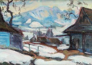 Pejzaż tatrzański z Giewontem w tle, k.XIX w.