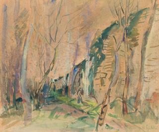 Pejzaż z ogrodu z drzewami, 1937-1943