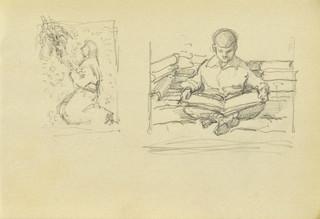 Dwa szkice: Modląca się, Chłopiec nad książką