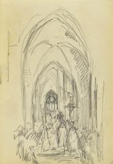 Wierni wewnątrz gotyckiego kościoła
