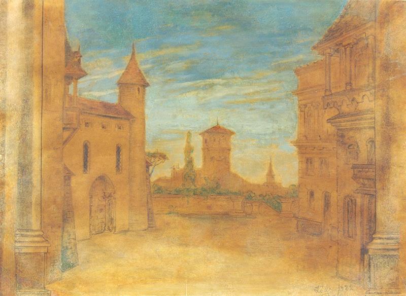 Dziedziniec fabryczny - Łódź, 1921