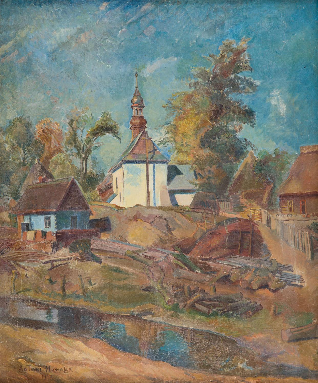 """""""Pejzaż z wiejskim kościółkiem"""", 1943"""