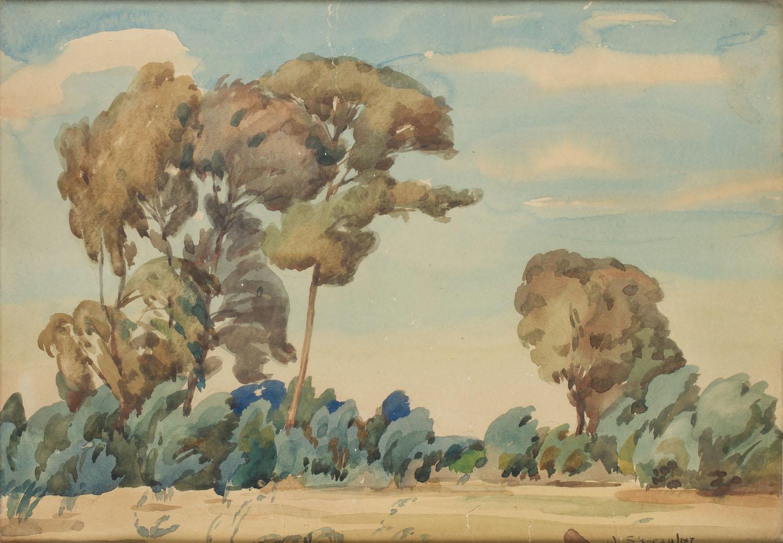 Pejzaż z drzewami, około 1925
