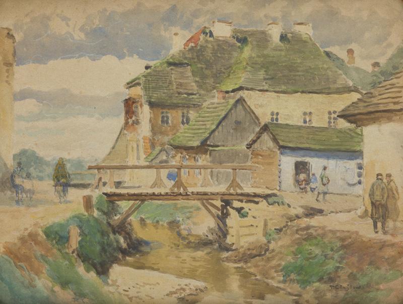 Zabudowania nad potokiem Grodarz w Kazimierzu Dolnym