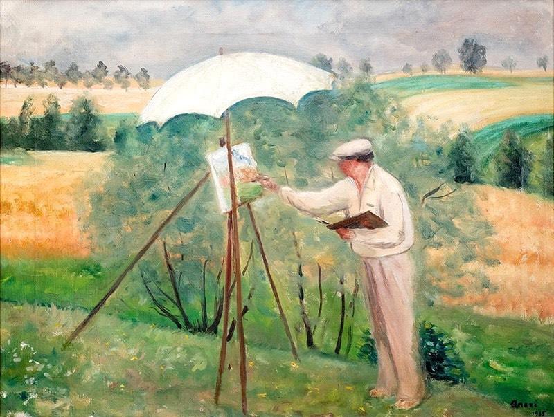 Pejzażysta – Wojciech Weiss malujący, 1935 r.