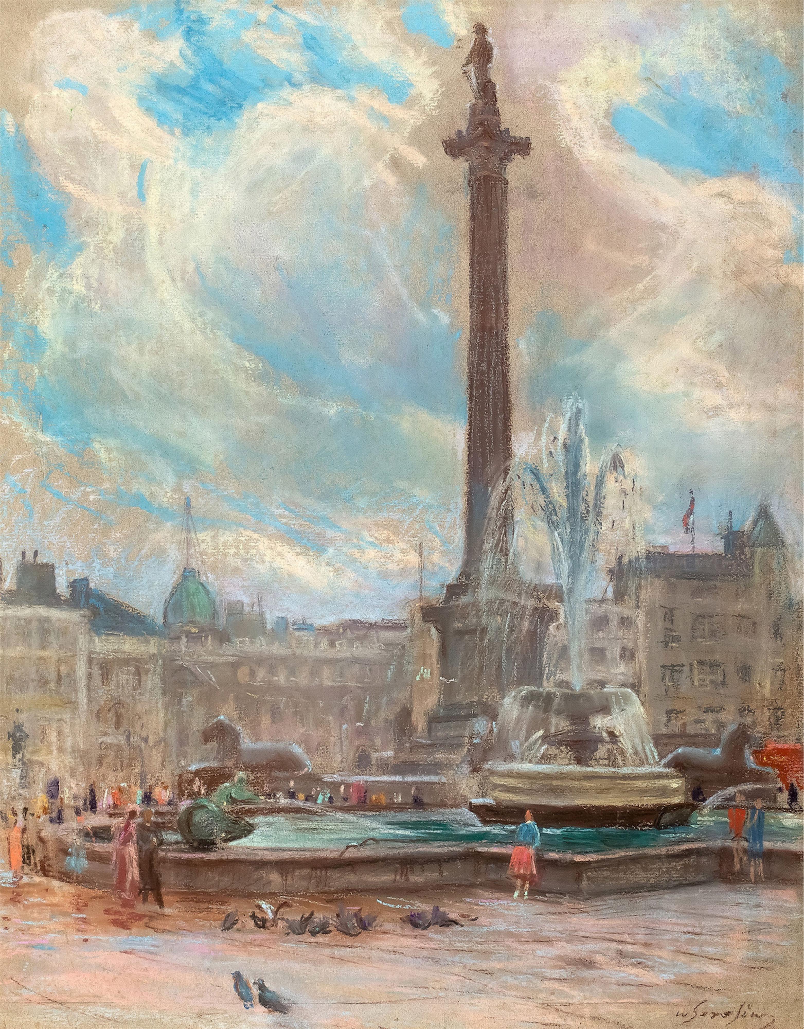 Kolumna Nelsona przy Trafalgar Square w Londynie, ok. 1965