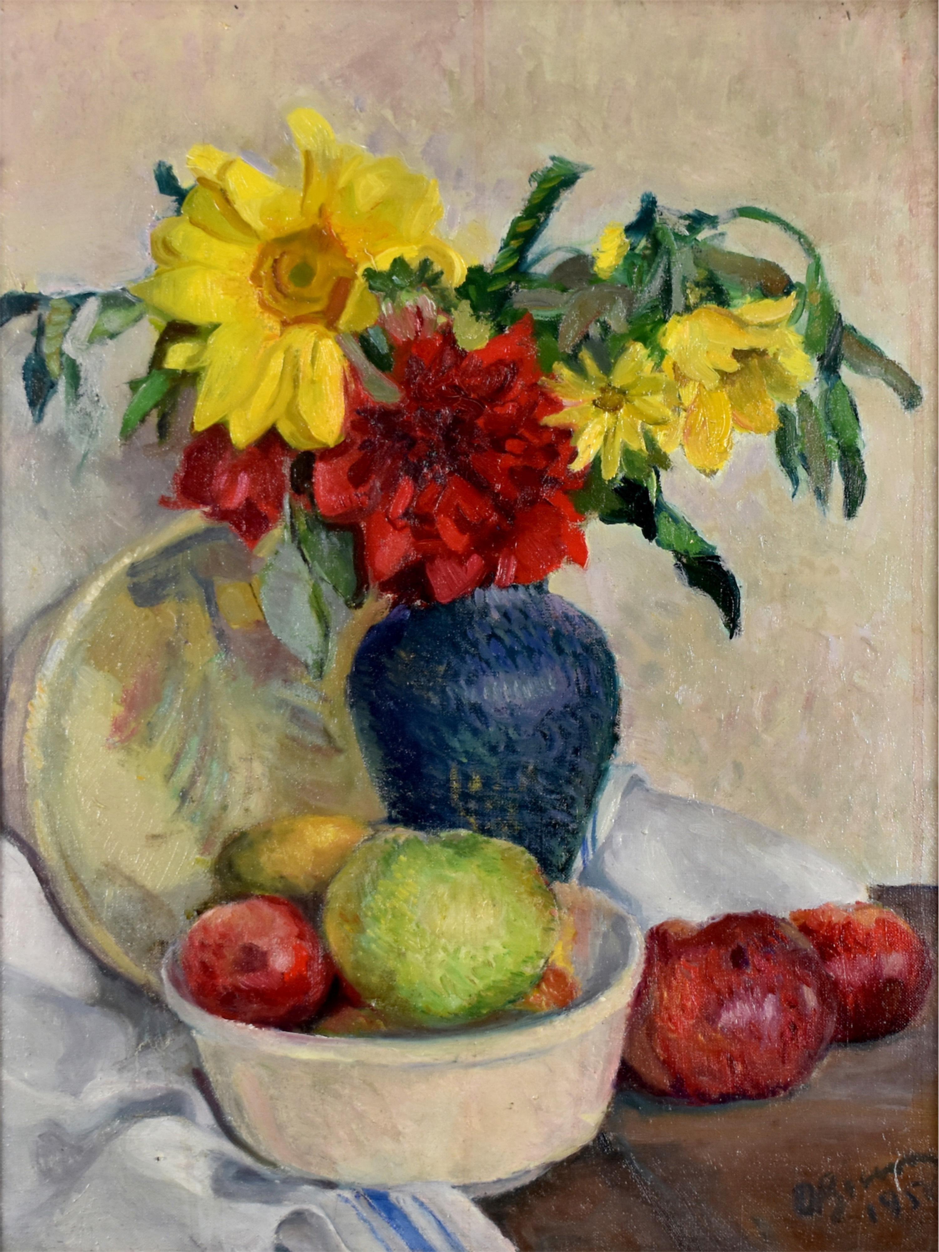 Martwa natura z kwiatami w wazonie i owocami, 1950
