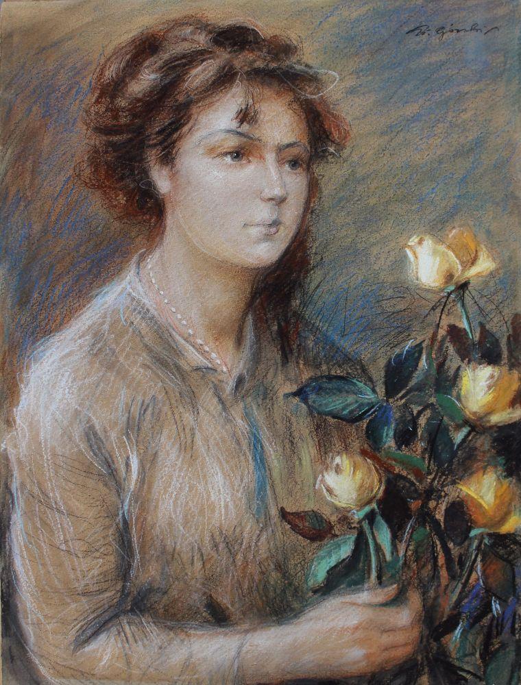 Portret kobiety z różami