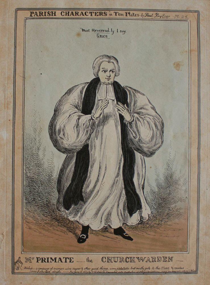 "Karykatura Arcybiskupa Canterbury (z serii ""Parish Characters in Ten Plates, pl.2, 1829)"