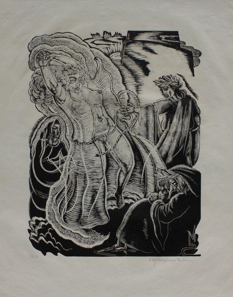 """Ilustracja do """"Boskiej komedii"""" Dantego. Czyściec, Pieśń XIX"""