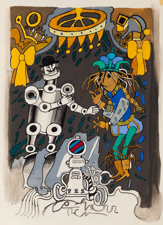 """""""Czarnoksiężnik ze Szmaragdowego Grodu"""", ilustracja, około1972"""