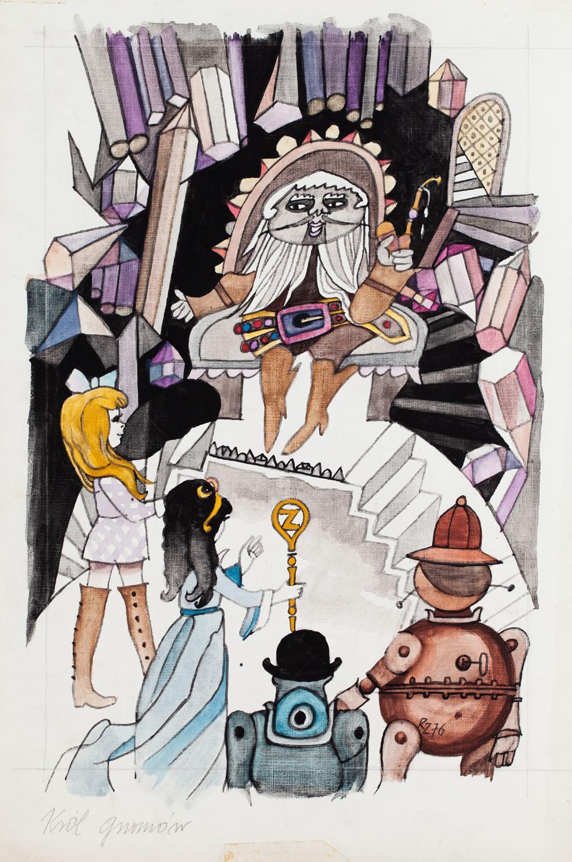 """Dorota u Króla Gnomów"", ilustracja, 1976"