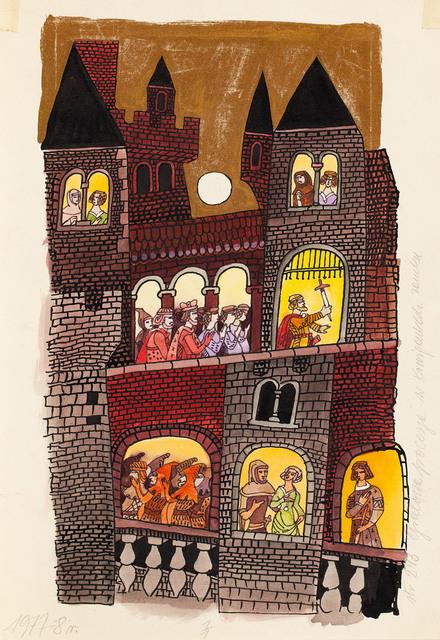 """""""O Królu Arturze i Rycerzach Okrągłego Stołu"""", ilustracja, około1977"""