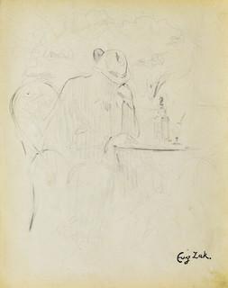 Mężczyzna siedzący przy stoliku kawiarnianym (Pont-Aven?)