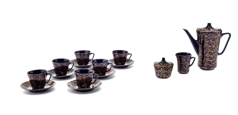 Zestaw kawowy dla 6 osób, lata 60.-70. XX w.