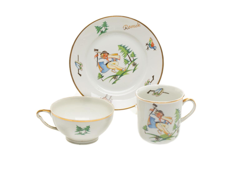 Zestaw porcelanowy: kubek, filiżanka, talerzyk, okres międzywojenny