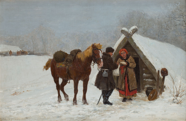 Zimowa scena przed piwniczką, 1880