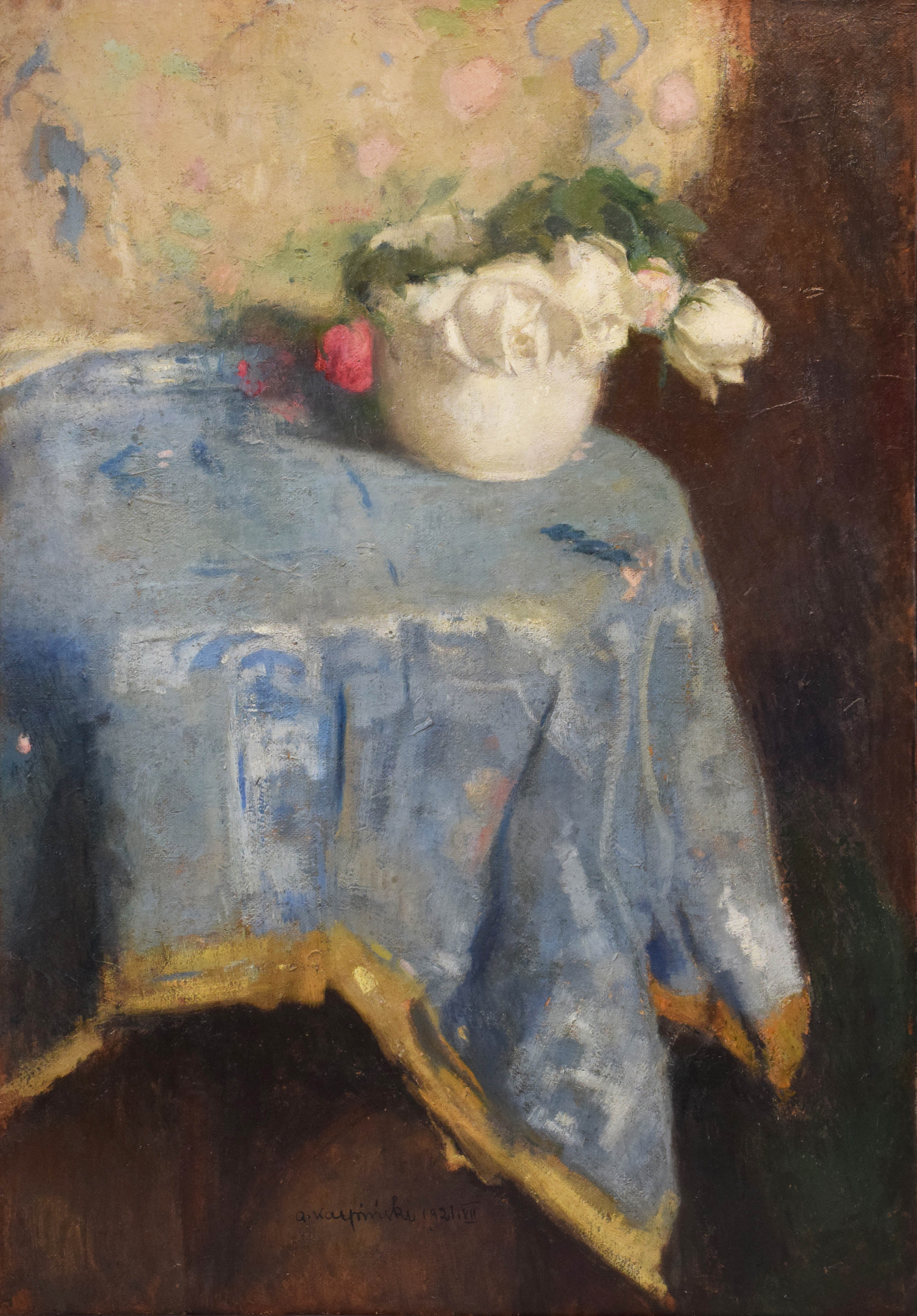 Białe róże na niebieskiej draperii, 1921