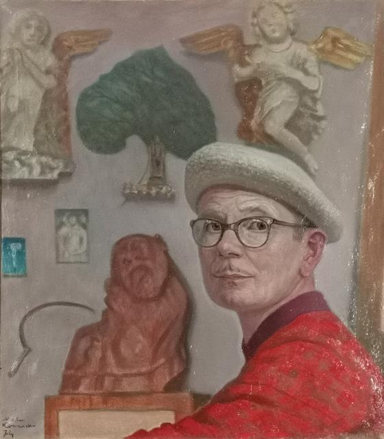 Autoportret w pracowni na tle rzeźb
