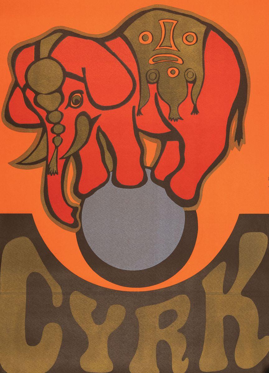 PLAKAT CYRKOWY - SŁOŃ NA KULI, 1974