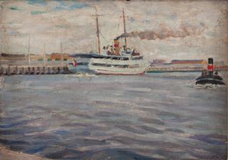 """Statek SS """"Gdańsk"""" w porcie w Gdyni"""