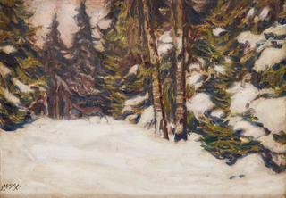 Jeleń w zimowym lesie