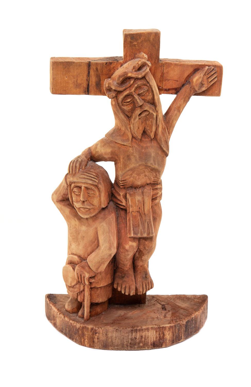 Chrystus na krzyżu błogosławiący wędrowca