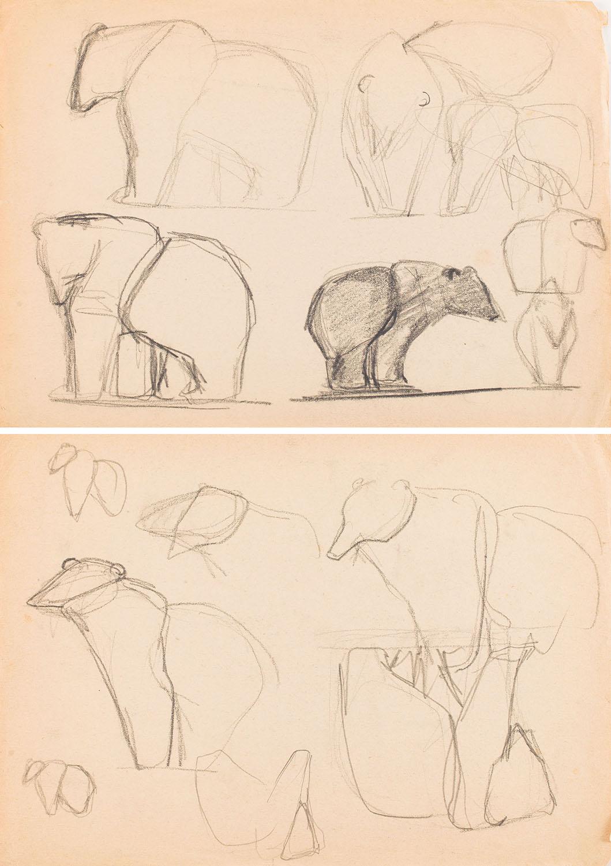 Szkice do projektu figurki niedźwiedzia, lata 50.-60. XX w.