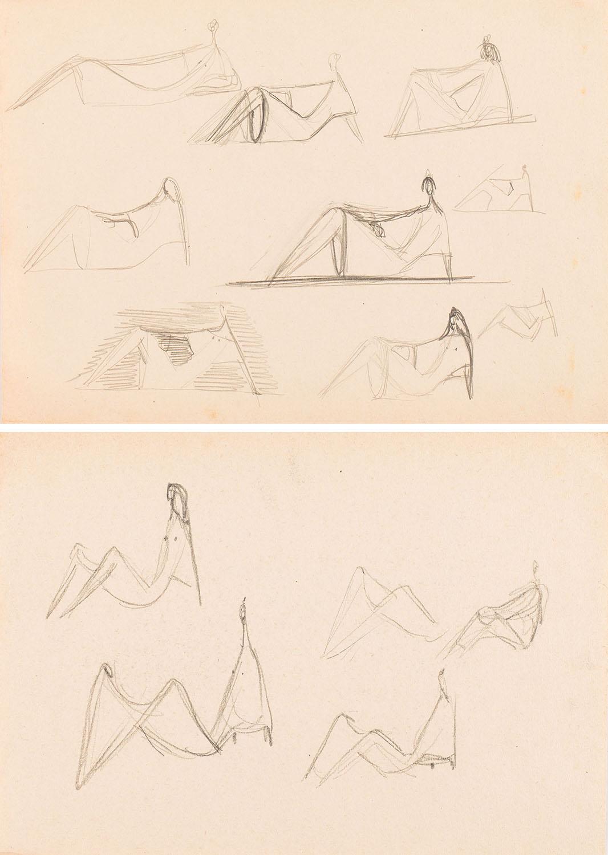 """Szkice do projektu figurki """"Relaks"""", lata 50.-60. XX w."""