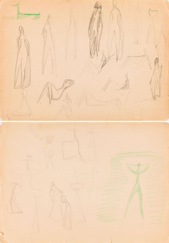 Szkic do projektu figurek kobiet, lata 50.-60. XX w.