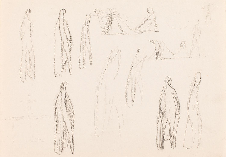 Szkice do projektów figurek kobiet, lata 50.-60. XX w.