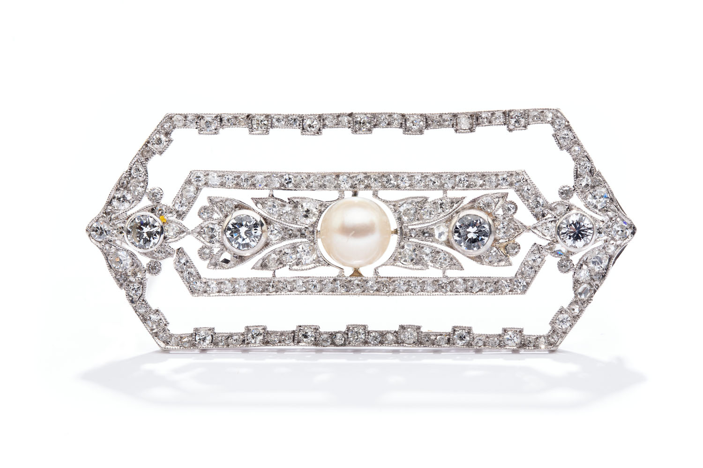 Brosza z perłą i diamentami , lata 20.-30. XX w., Paryż