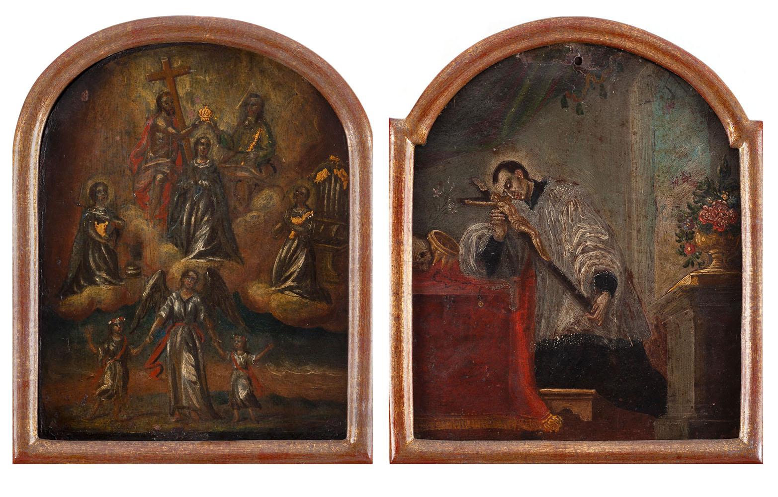 Para obrazów - Koronacja Matki Boskiej i Święty Franciszek Ksawery, XVIII w.