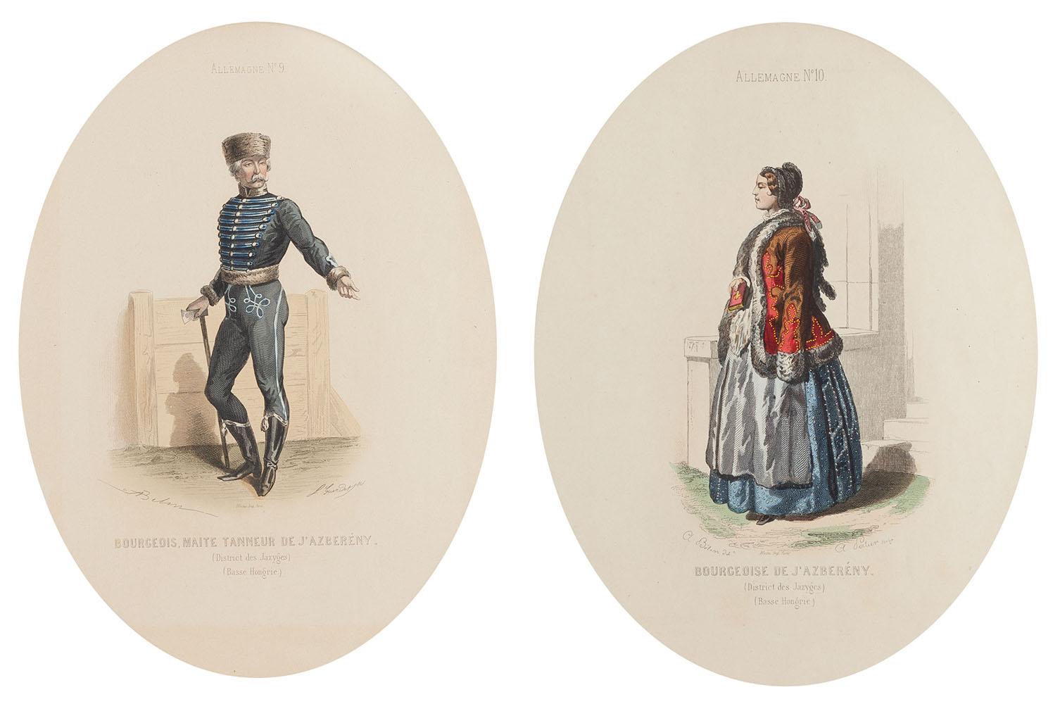 Para grafik z przedstawieniem strojów węgierskich
