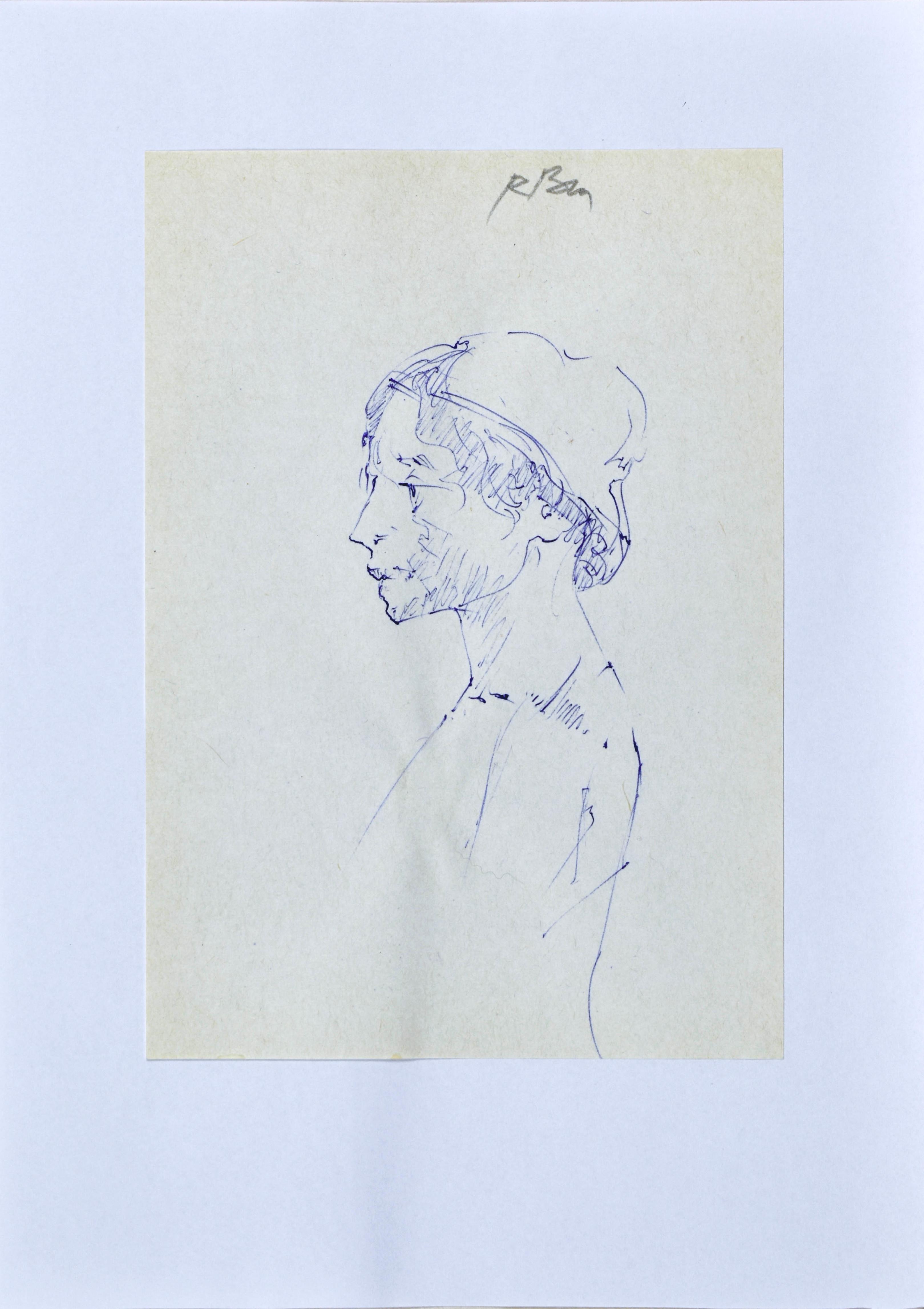 Szkic popiersia kobiety z hustą na głowie z lewego profilu