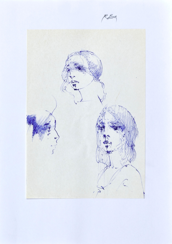 Szkice głowy kobiety w różnych ujęciach