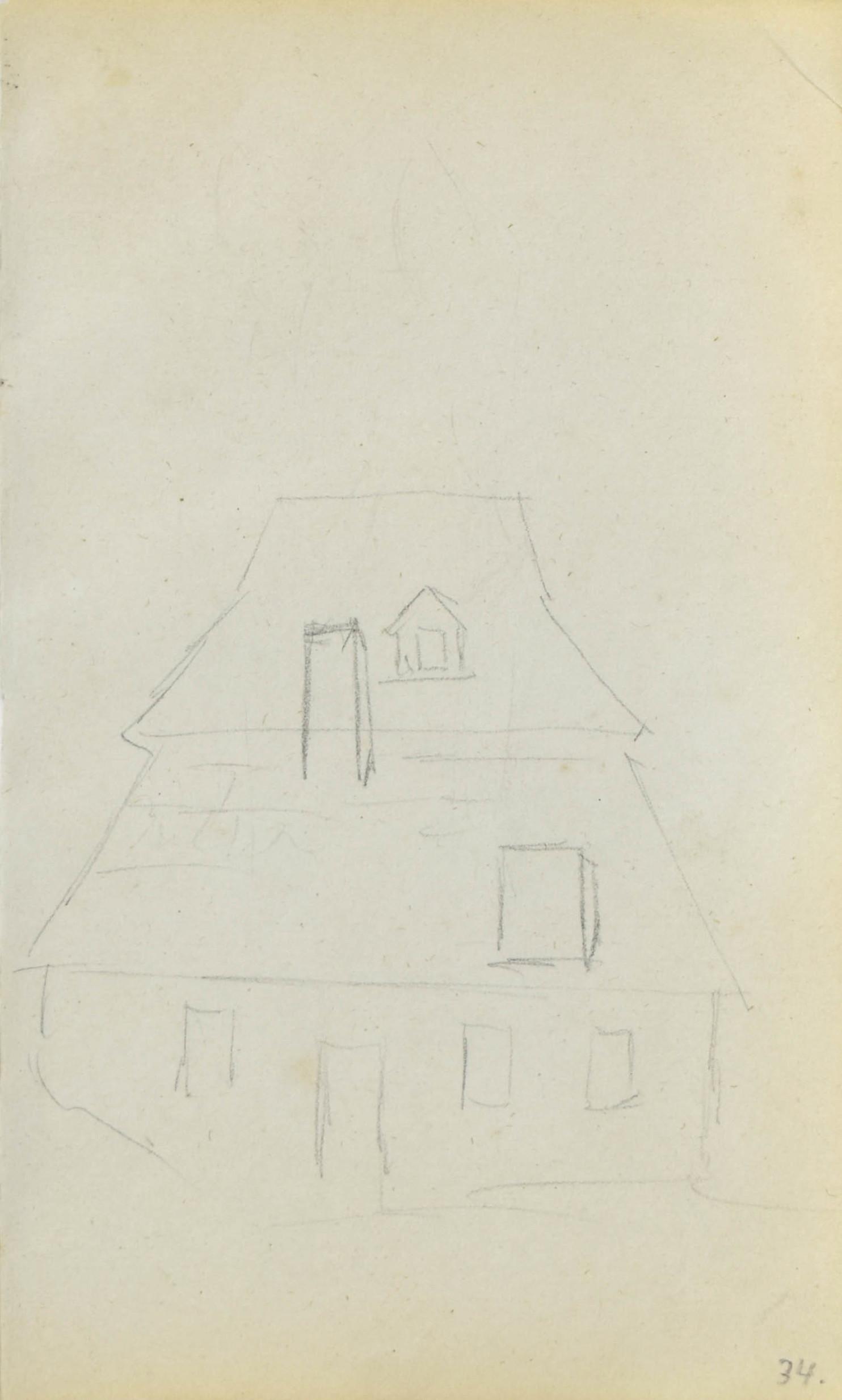 Szkic góralskiego domu z łamanym dachem