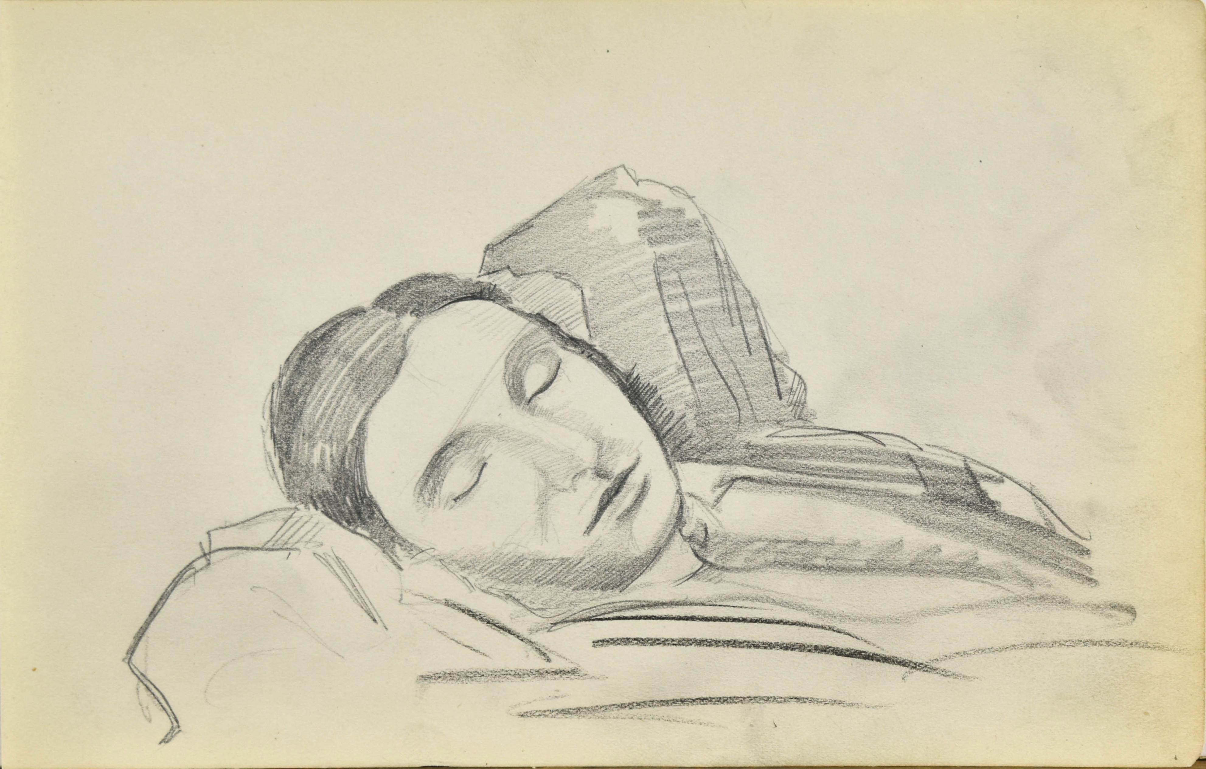 Szkic popiersia śpiącej kobiety z rękami uniesionymi za głowę