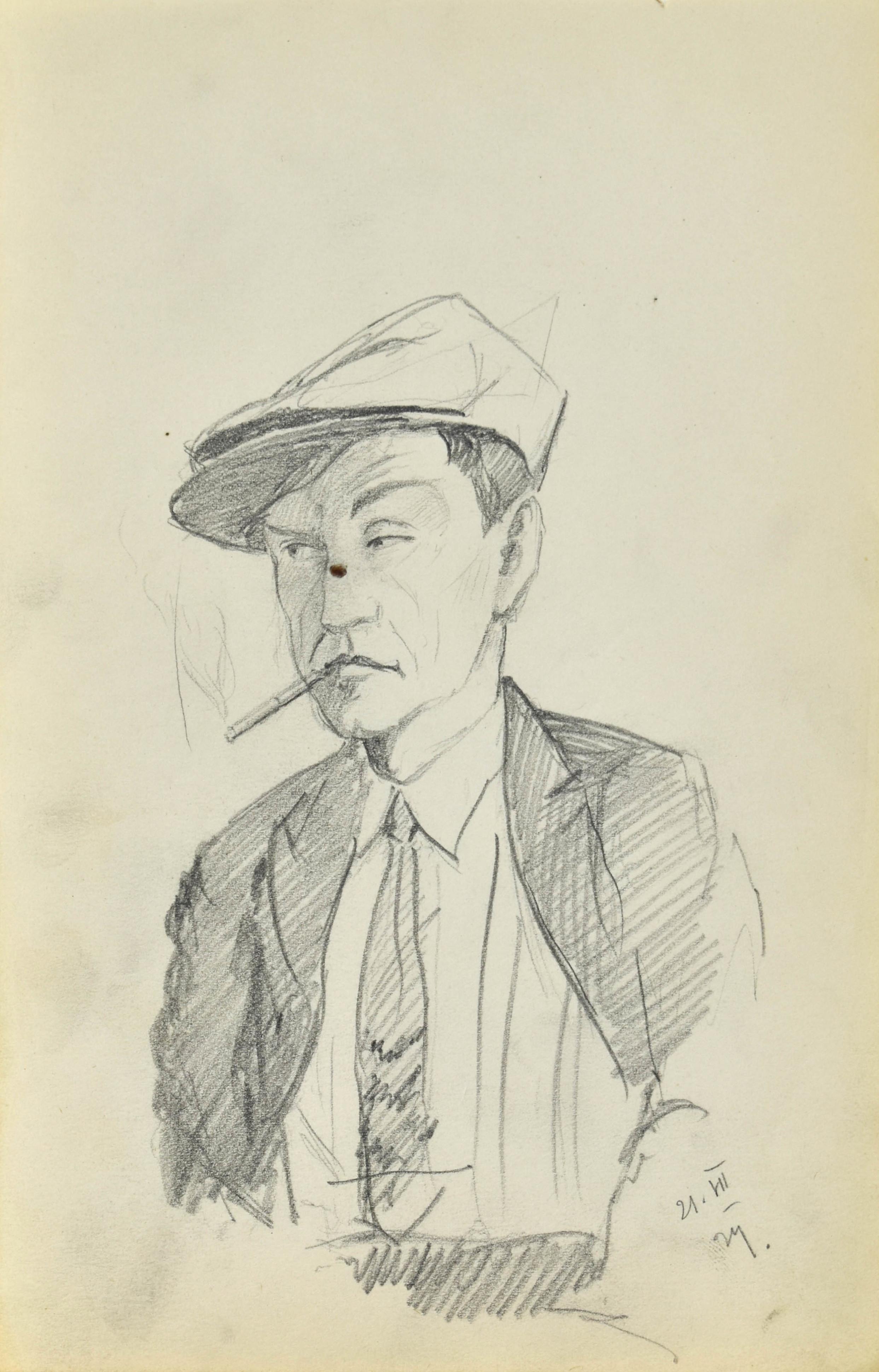 Szkic mężczyzny w czapce palącego papierosa