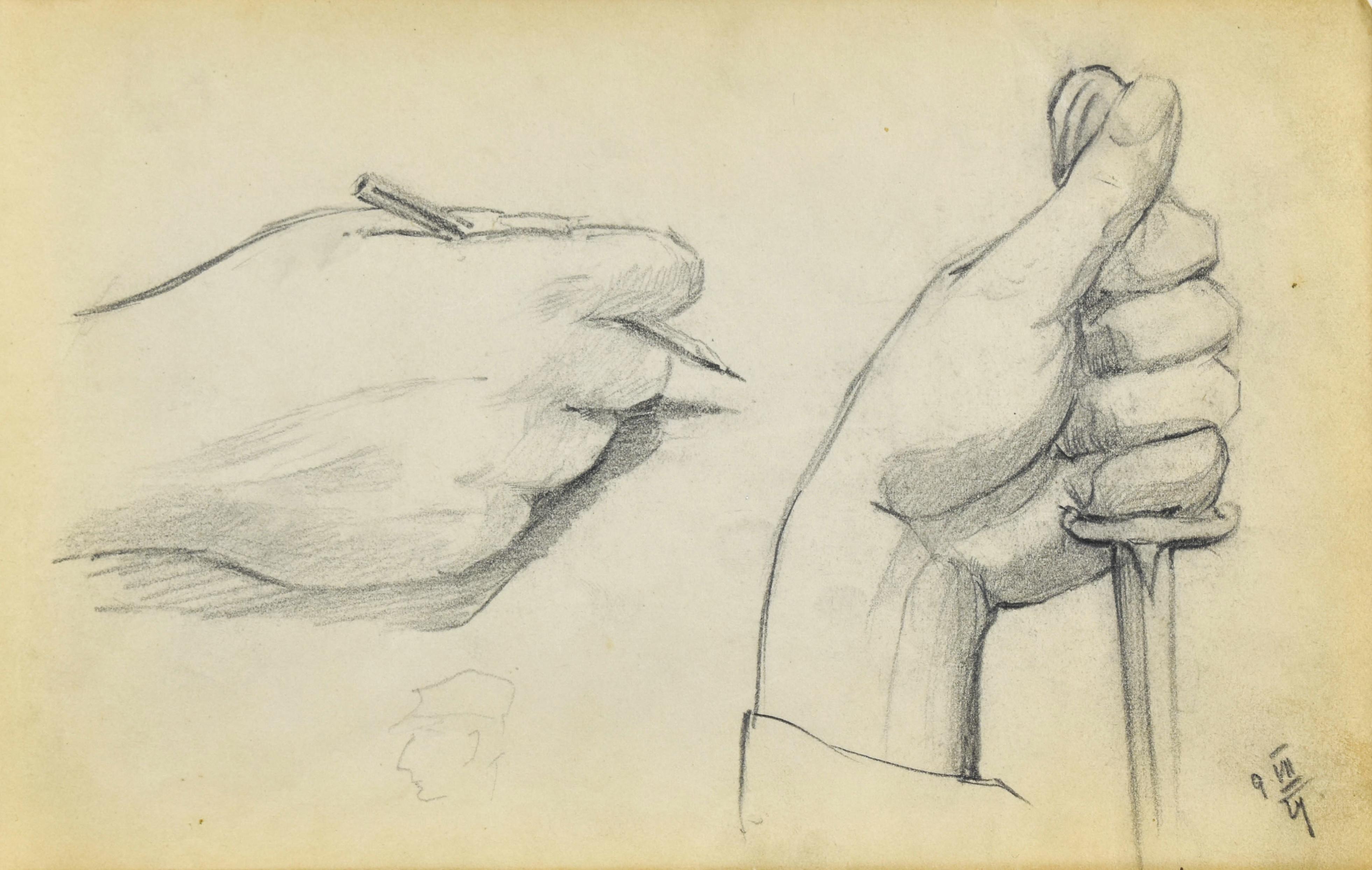 Szkic dłoni trzymającej ołówek oraz dłoni trzymającej sztylet