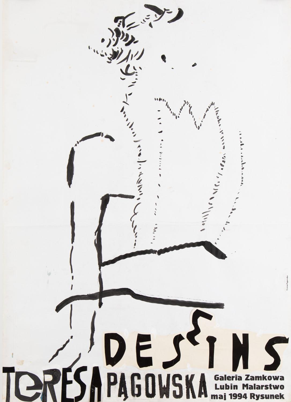 Projekt plakatu do wystawy Teresy Pągowskiej w Galerii Zamkowej w Lubinie, 1994, 1994