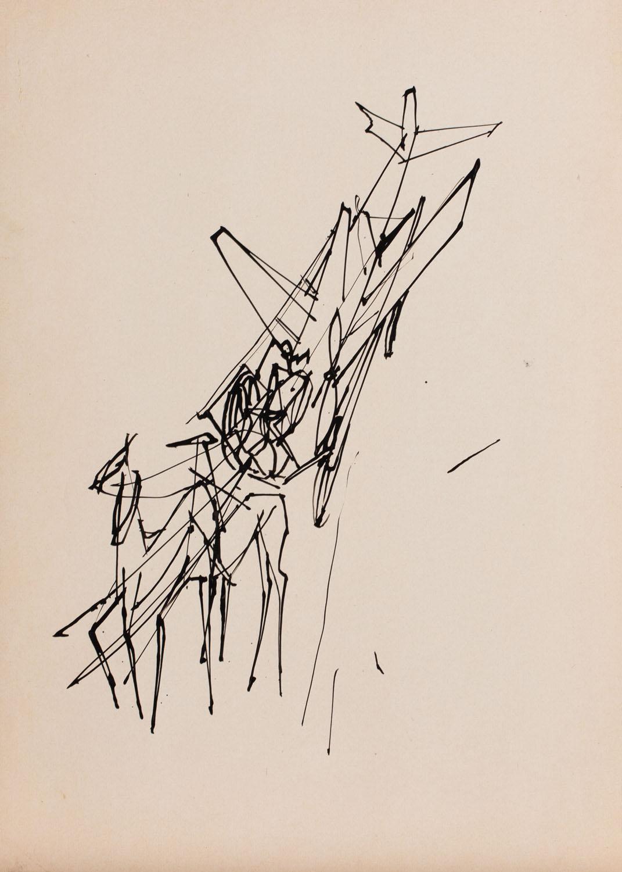 Koń i samolot - szkic ilustracji