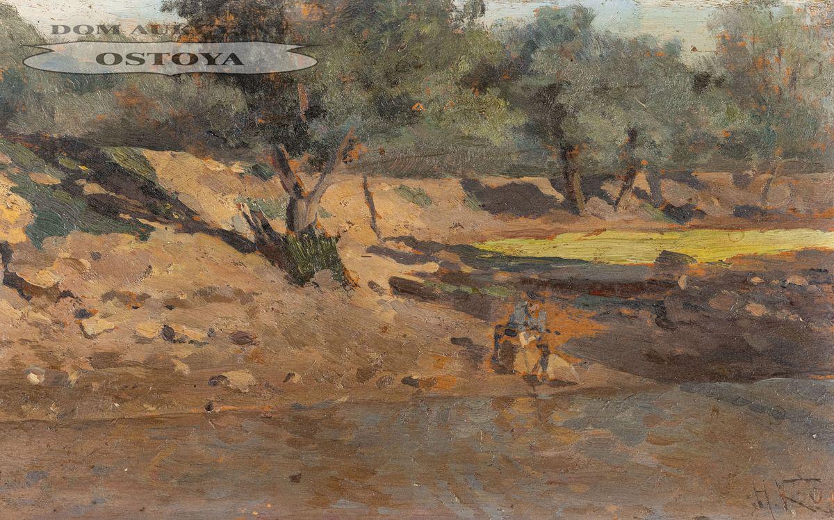 PEJZAŻ Z WĘDKARZEM, 1889