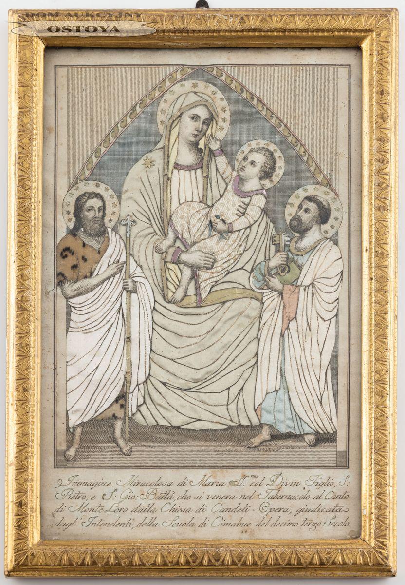 MADONNA Z DZIECIĄTKIEM I ŚWIĘTYMI JANEM I PIOTREM, Włochy, poł. XIX w.