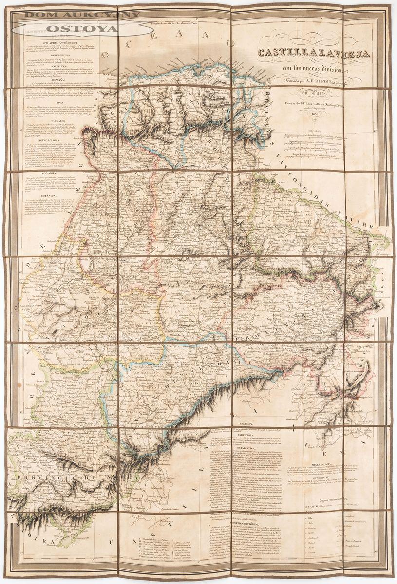MAPA STAREJ KASTYLII, A. H. Dufour,1836