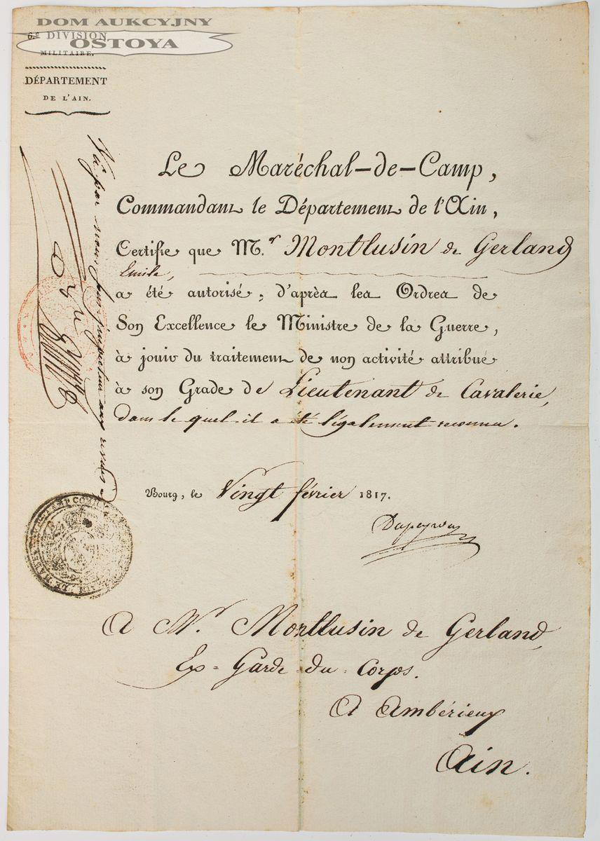 ZAŚWIADCZENIE MARSZAŁKA POLNEGO, KOMENDANTA DEPARTAMENTU AIN, Bourg-en-Bresse, 20.02.1817