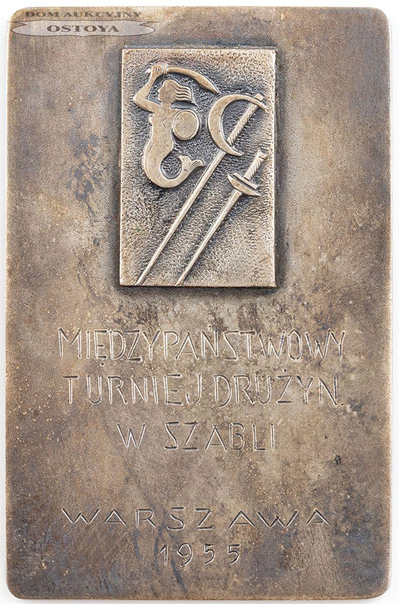 PLAKIETA PAMIĄTKOWA, MIĘDZYNARODOWY TURNIEJ DRUŻYN W SZABLI, Warszawa, 1955