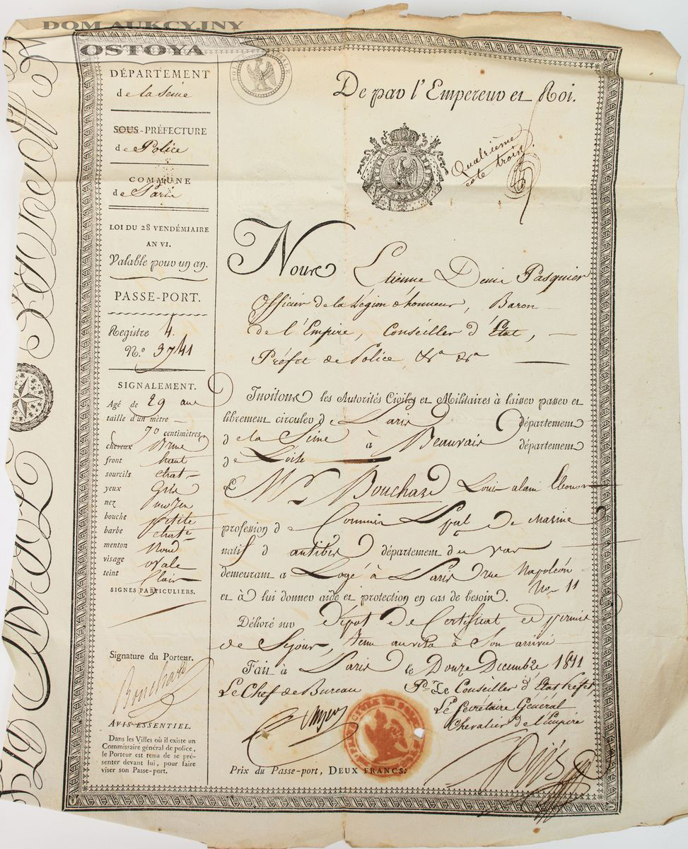 PASZPORT FRANCUSKI, Louis Alain Eleonor Buchard, 12.12.1811
