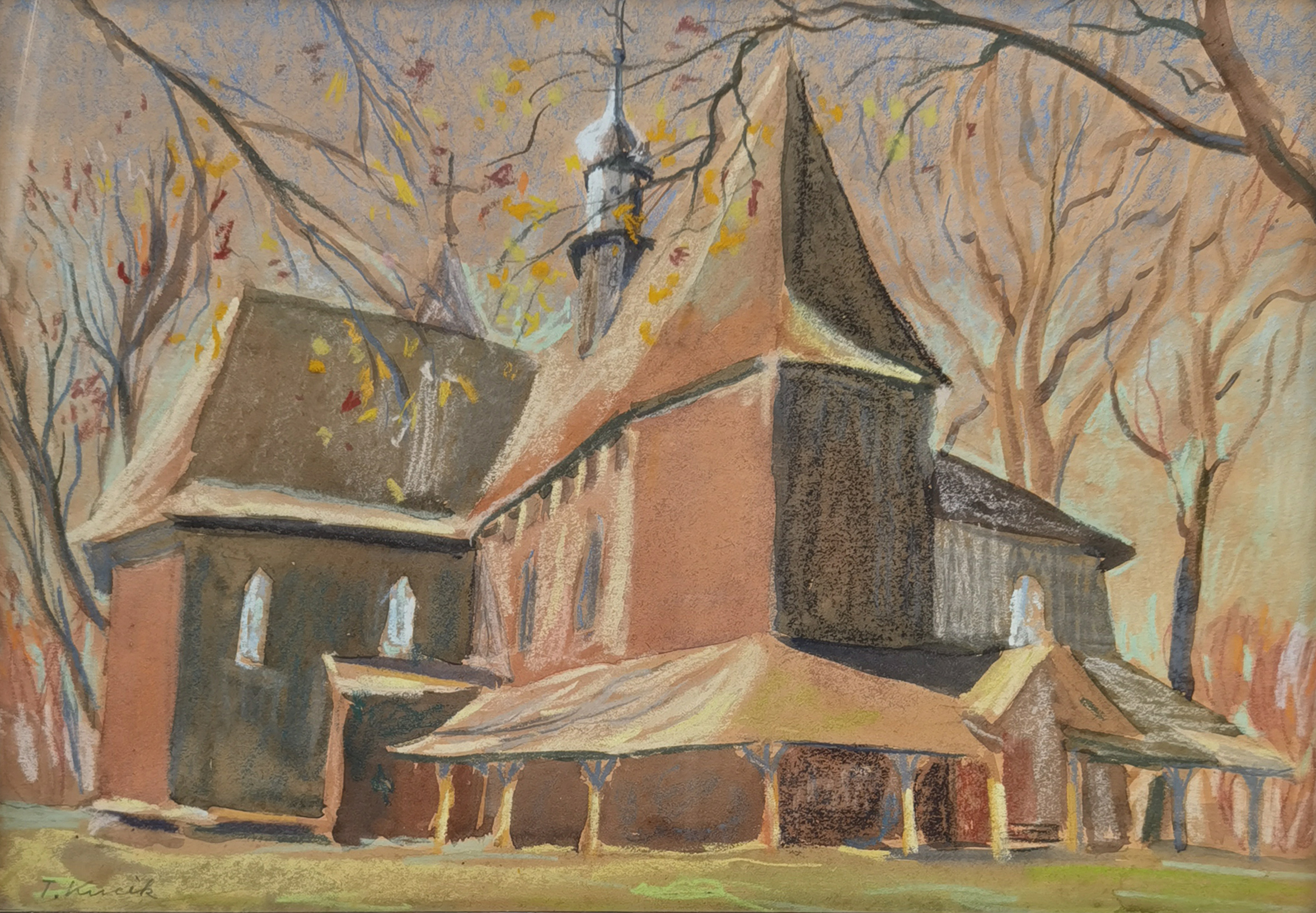 Widok na stary kościół w Skrzyszowie