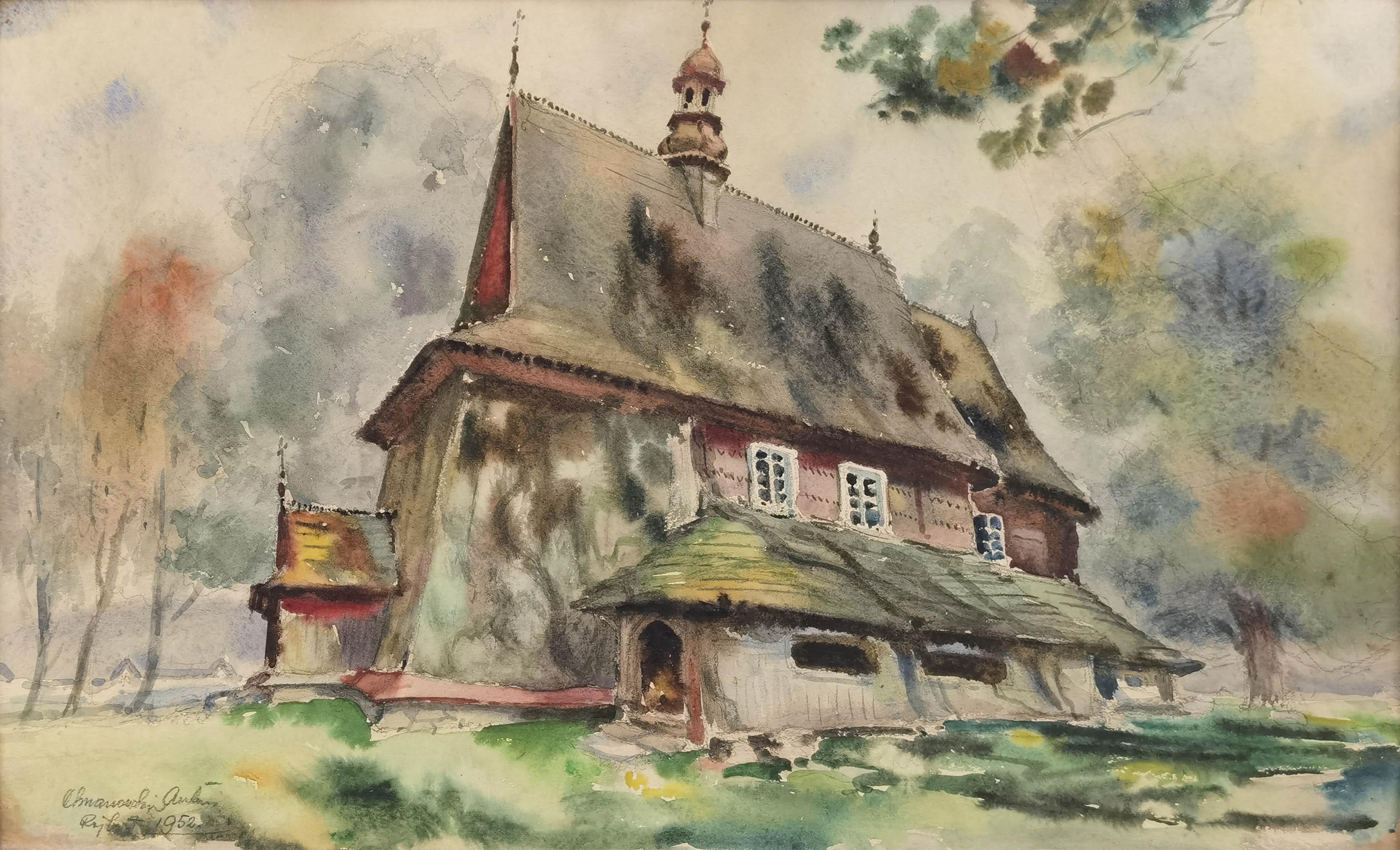 Drewniany kościółek w Rajbrocie, 1952